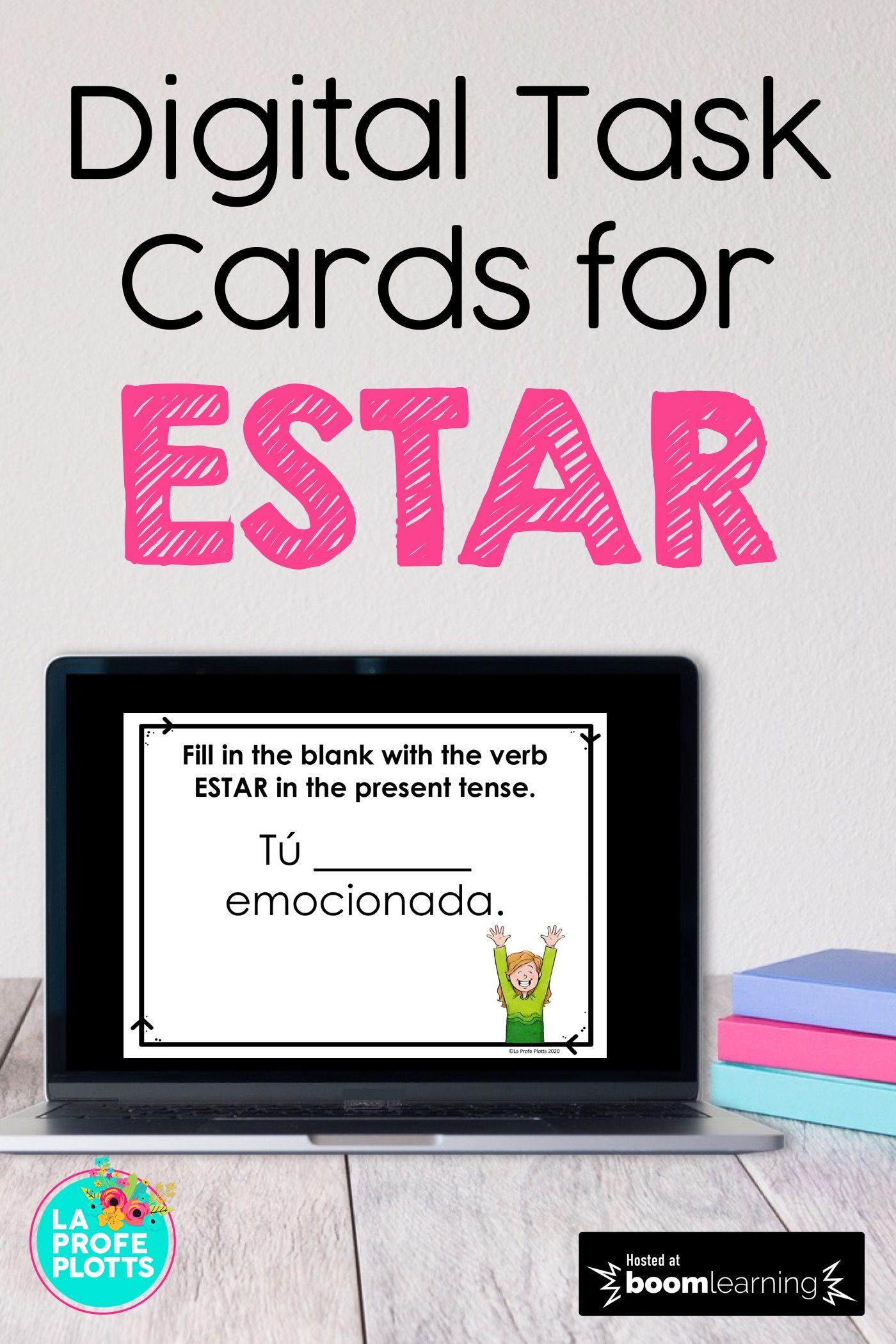 Estar Digital Task Cards Digital Task Cards Task Cards Spanish Grammar Activities [ 2100 x 1400 Pixel ]