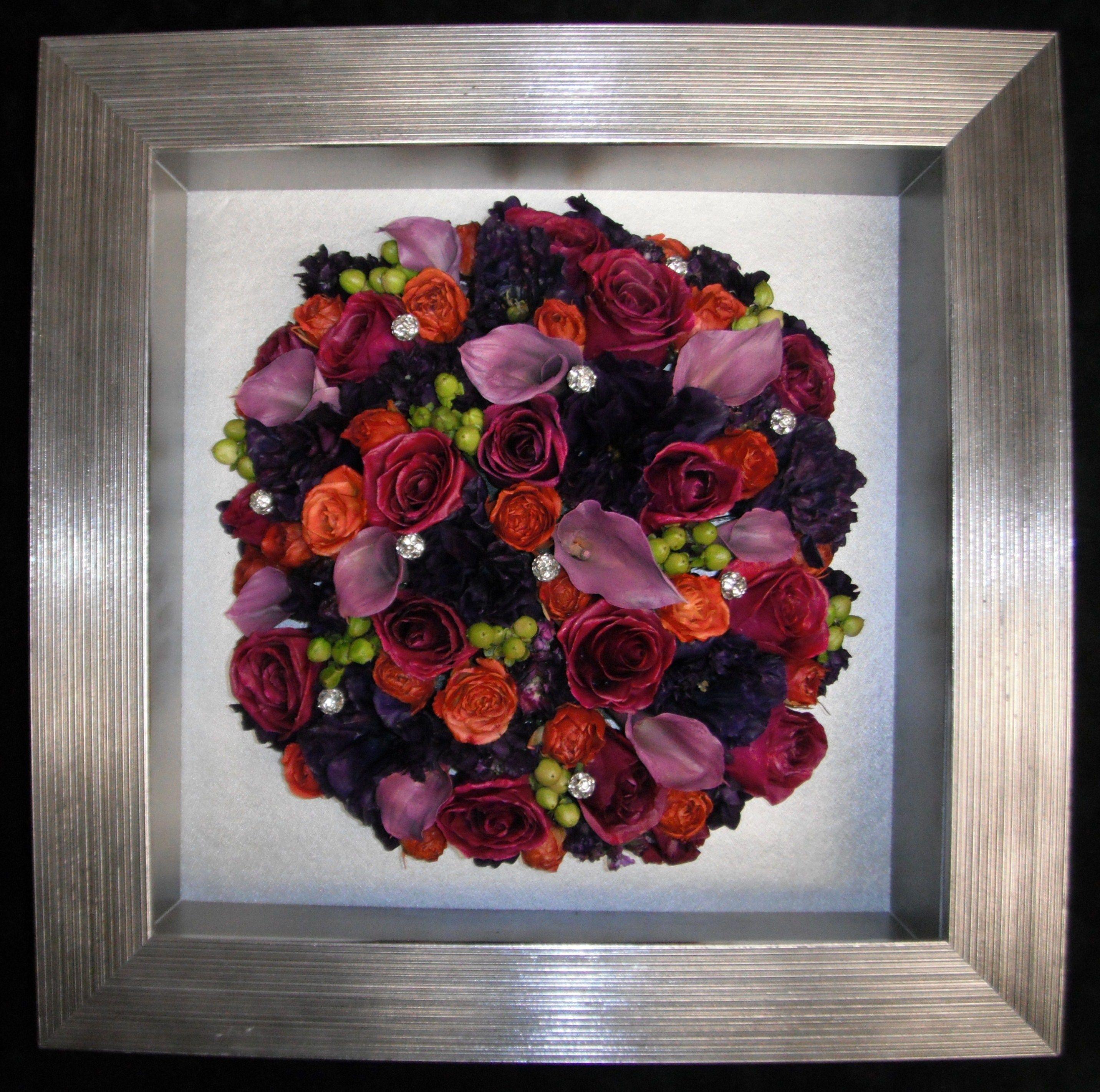 Freeze-dried wedding bouquet flowers in our custom shadow ...