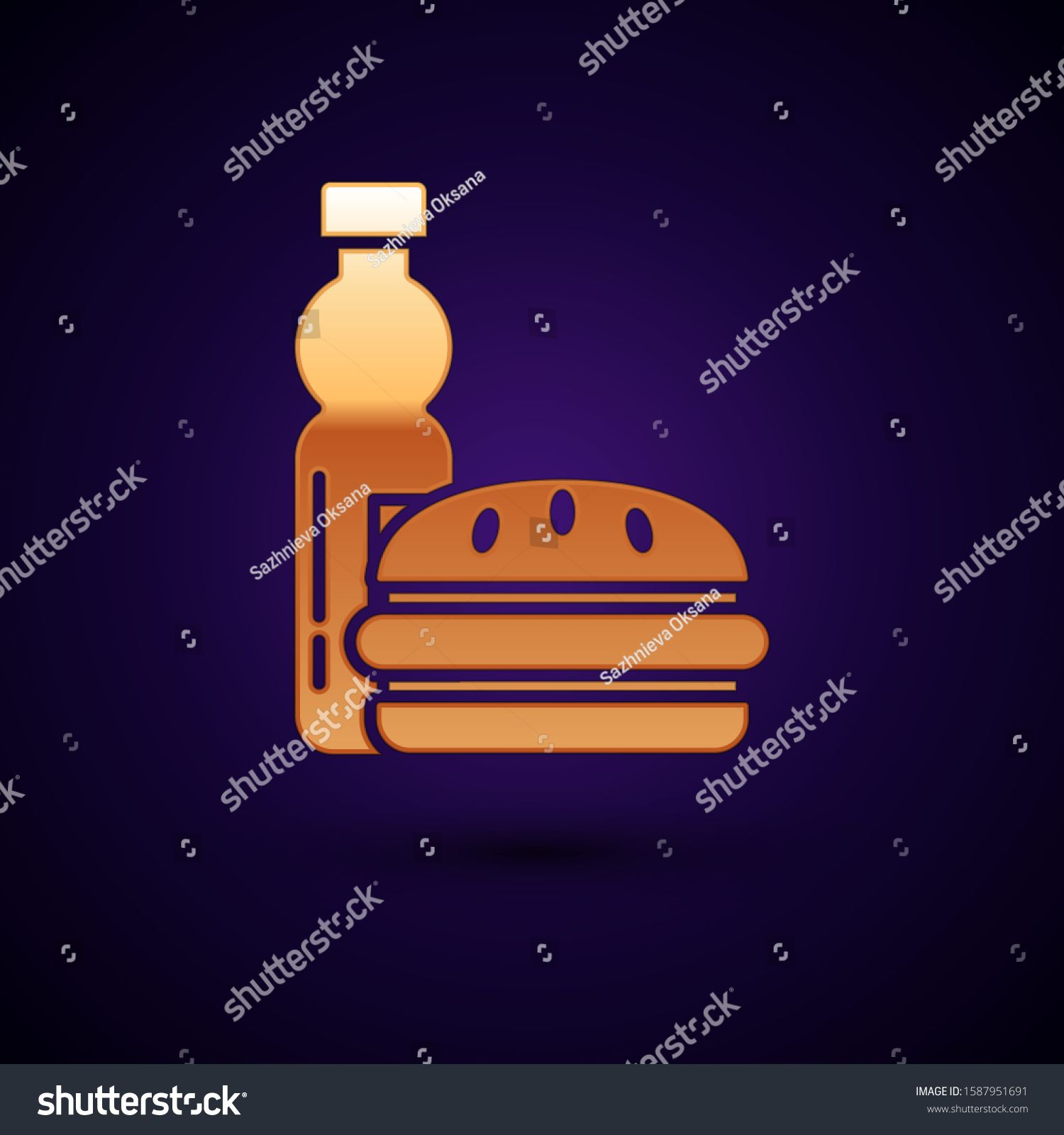 Gold Bottle of water and burger icon isolated on dark blue