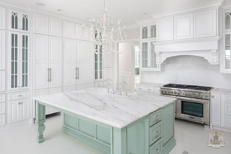 Charmant White Kitchen With Mint Green Island And White Marble Countertops