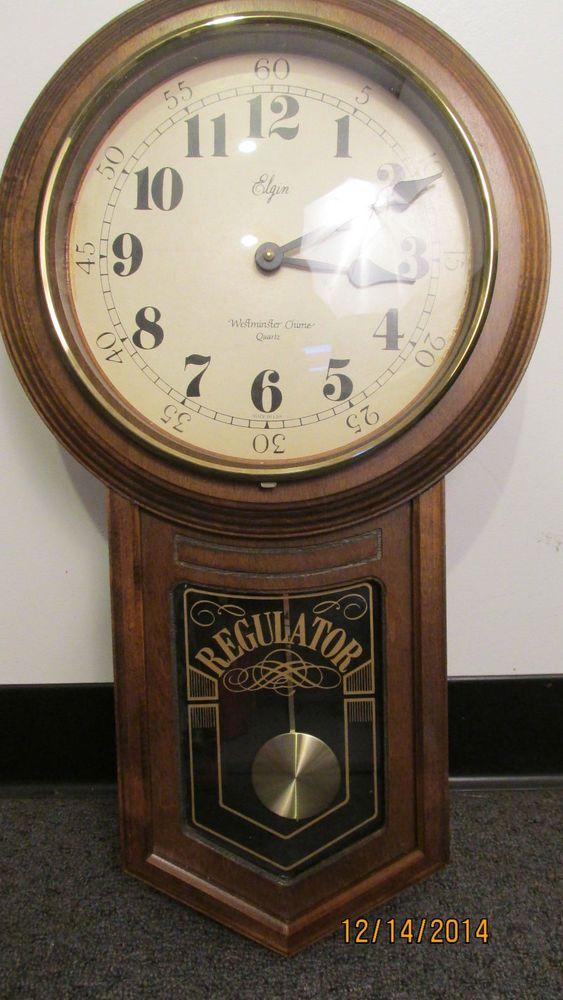 Elgin Wooden Regulator Wall Clock Quartz Westminster