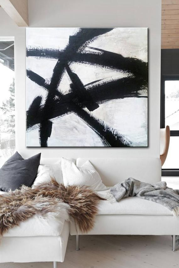 Black and White Painting Original Abstract Wall ar