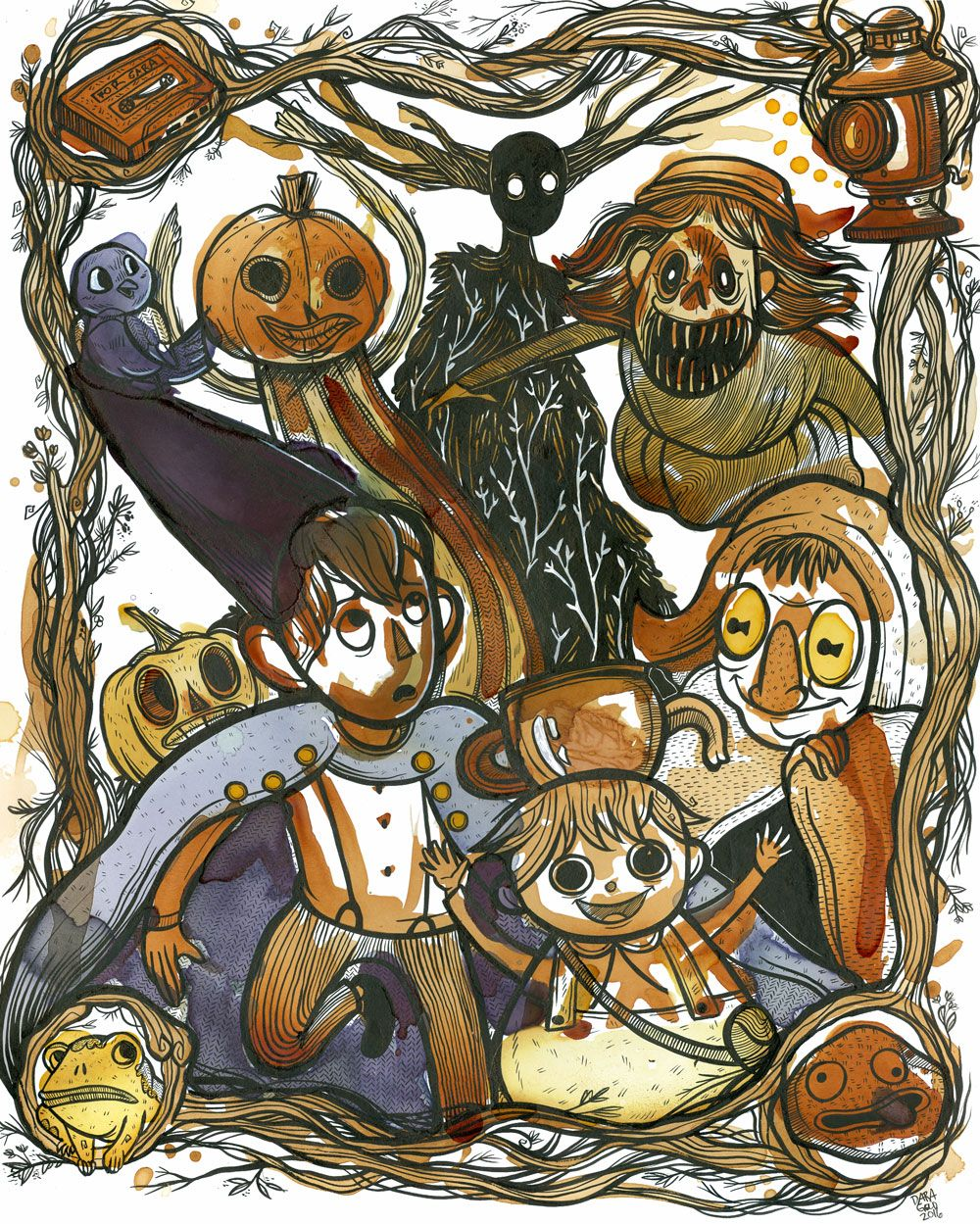 Over The Garden Wall Illustration Created With Orange Pekoe Oolong Multiple Types Yame Sencha Raspberry Cranberry Tea And Ink I Was So Surprised And Pleased With The Variety And Strength Of Colour
