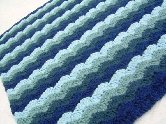 Crochet Blue Baby Blanket Crochet Baby Blanket Baby Blanket Hues of Blues crib size