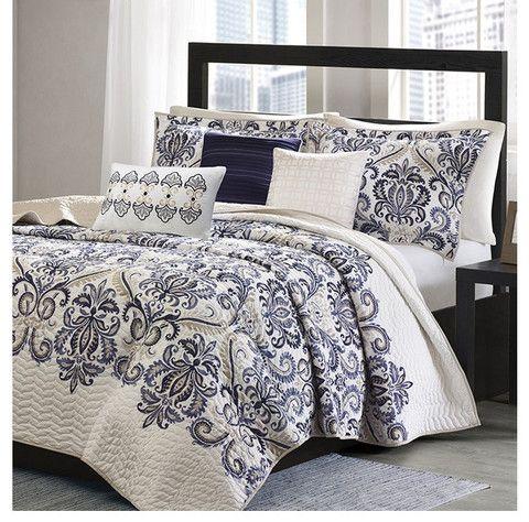 Mesa Navy And White Damask Quilt Set, Navy Blue Damask Bedding