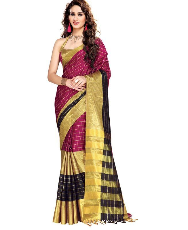 eff9ca4ebf7288 Buy Statuesque Yellow & Violet Casual Sarees online at https://www.