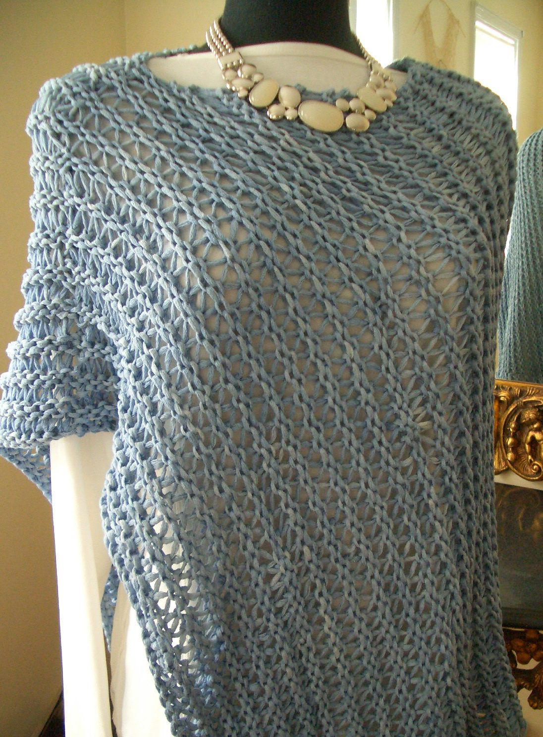 Free Knitting Pattern for Easy 4-Row Repeat Ridged Wrap Poncho -Easy poncho f...