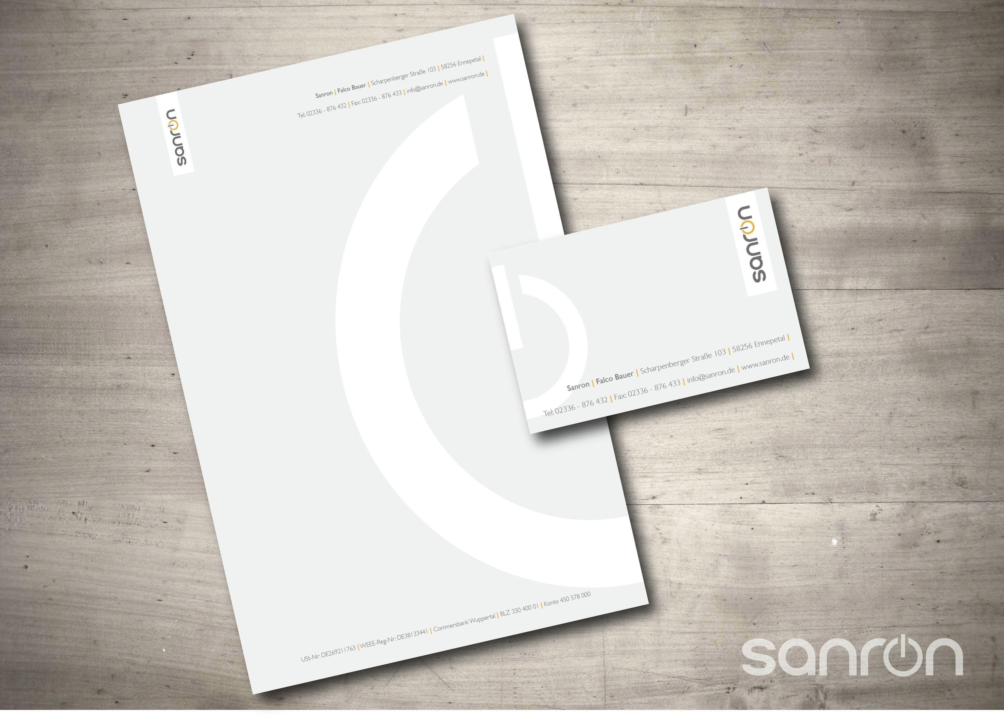 Visitenkarte Briefpapier und Logodesign für Sanron