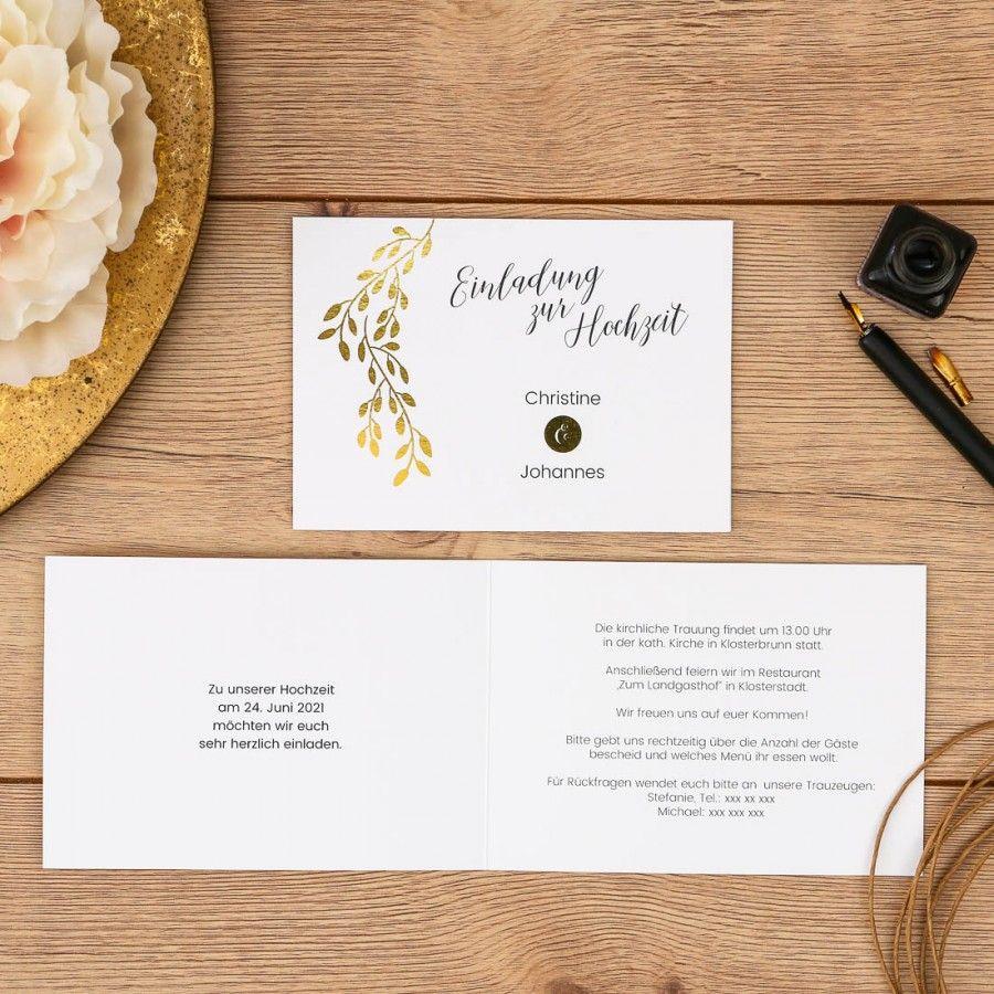 Linadara | Einladung   Klappkarte Querformat #goldfolie #wedding #hochzeit # Einladung #heißfolienprägung