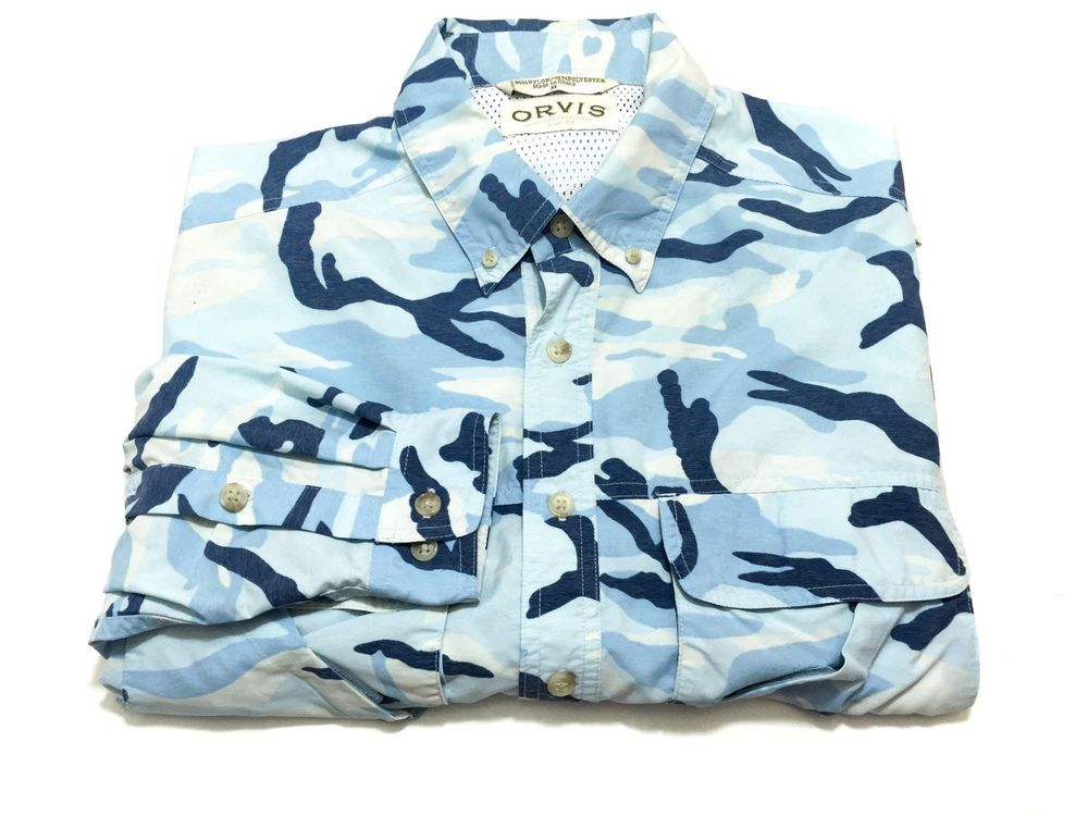 452e2143 Orvis M Saltwater Caribbean Camo Fishing Shirt Long Sleeve Blue Vented  Medium #Orvis #ButtonFront