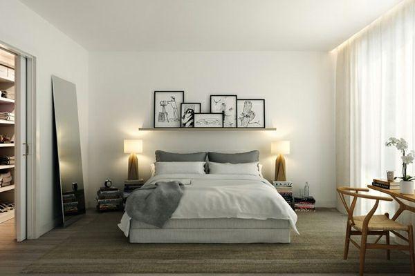 Schlafzimmer Lampe ~ Kleines schlafzimmer einrichten zwei lampen und bilder an der wand