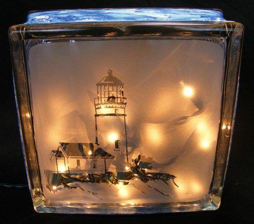 Lighthouse Glass Block Light 35 10 On Artfire Glas Etsen Glas