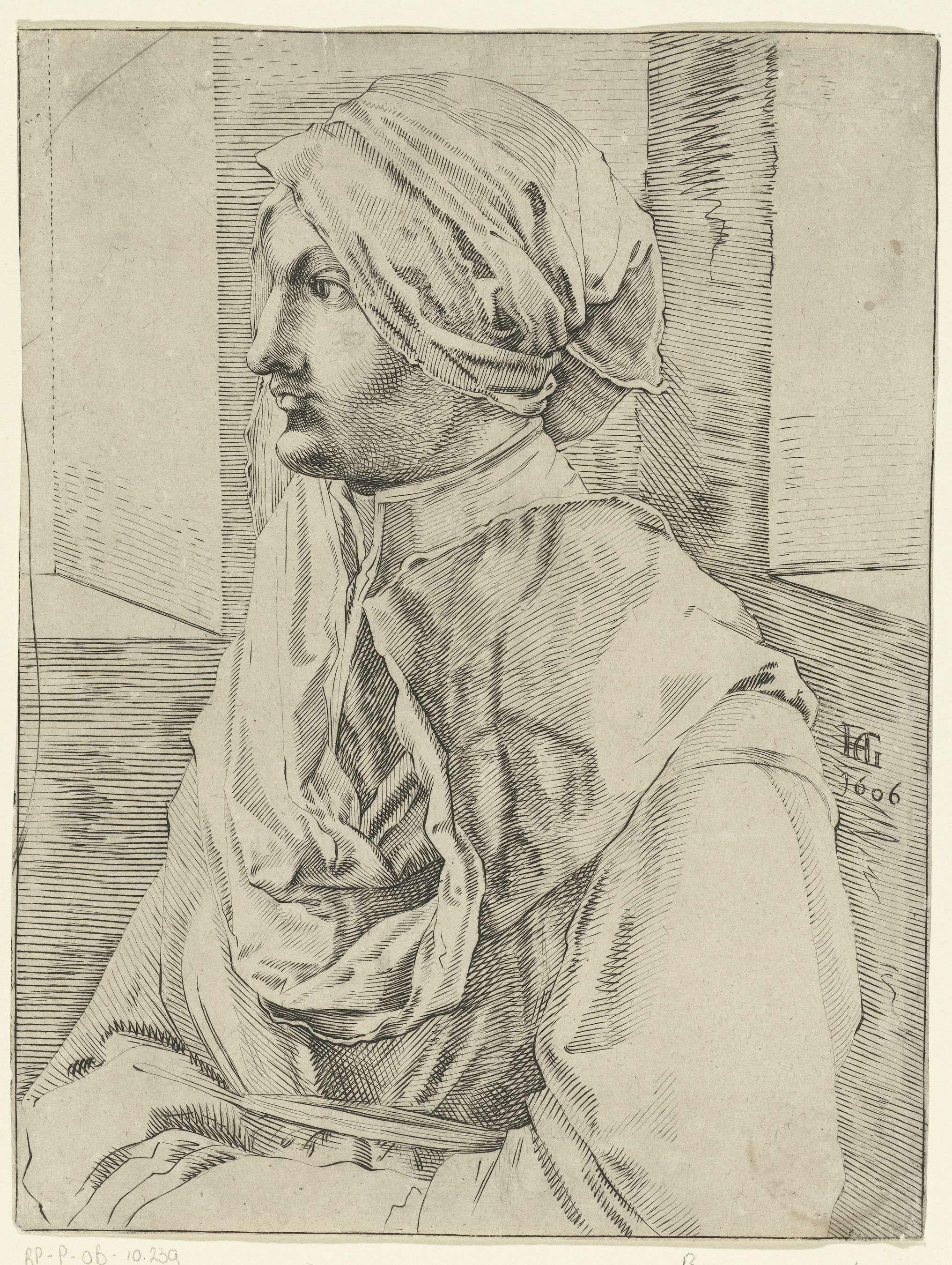 Albrecht Dürer | Vrouw met een hoofddoek, Albrecht Dürer, Anonymous, 1606 | Busteportret en profil van een vrouw met een hoofddoek, op de linkerzijde gezien, gezeten in een vertrek.