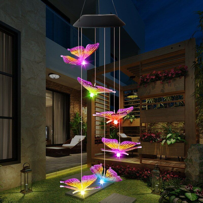 Led Solar Wind Chime Light Butterfly Style Outdoor Waterproof Garden Garland Hanging Lights Christmas Holid Solar Wind Chimes Solar Lights Butterfly Wind Chime