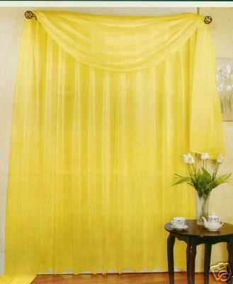 "My GOLD sheer - if I can't find pre-sewn curtain for playroom - SHEER VOILE 216"" LONG WINDOW SCARF BRIGHT YELLOW 
