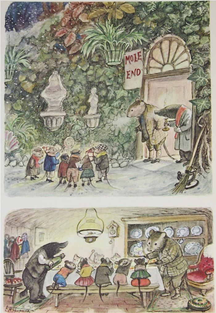 Vintage 1959 Childrens Book Page Illustration, Caroling Mice at House of Rat and Toad. $8.00, via Etsy.