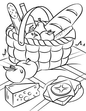 ausmalbild frühling - picknick korb in 2020 | wenn du mal buch, ausmalbilder frühling, malvorlagen