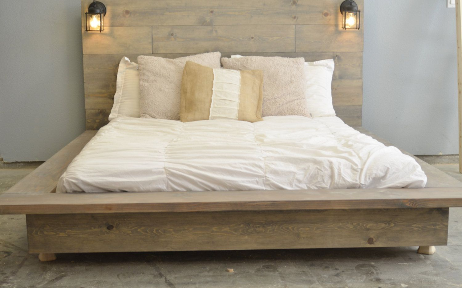 Floating Wood Platform Bed frame with Lighted by
