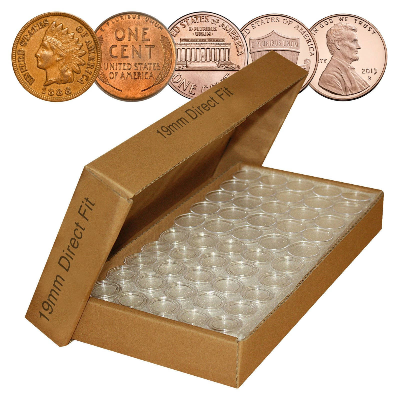 Direct-Fit Airtight A19 Coin Capsule Holders For PENNIES QTY: 1000 = 21ツ「 Each