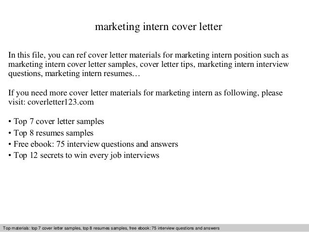 Marketing Intern Cover Letter This File You Can Ref Internship