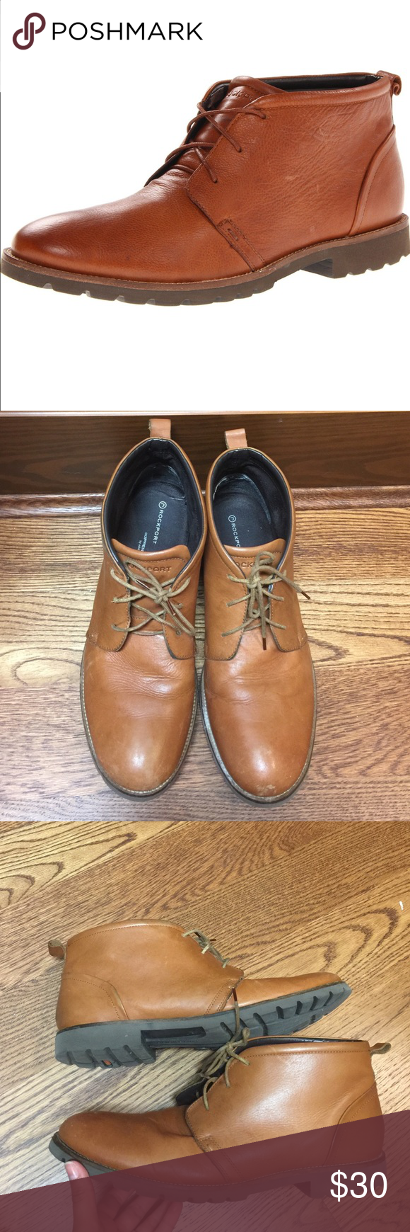 Rockport Men's Charson Lace Up Chukka Boots Good used condition. Scuffs mostly around the toe area. Great for the fall or winter. True to size. Rockport Shoes Chukka Boots