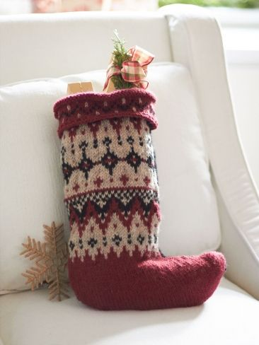 Free Pattern - Fair Isle Stocking in Patons Classic Wool Worsted ...