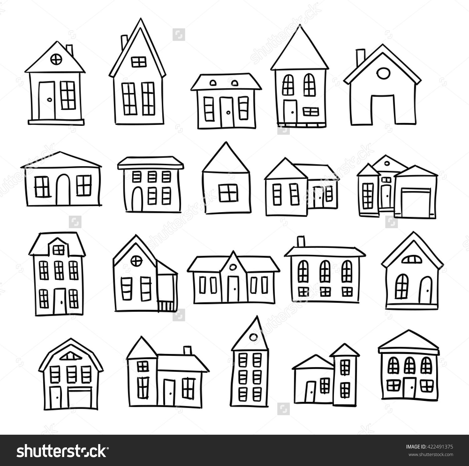 Hand Drawn House Vector Set How To Draw Hands Simple House