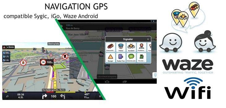 Autoradio gps wifi android 4g et 3g waze internet bluetooth iphone