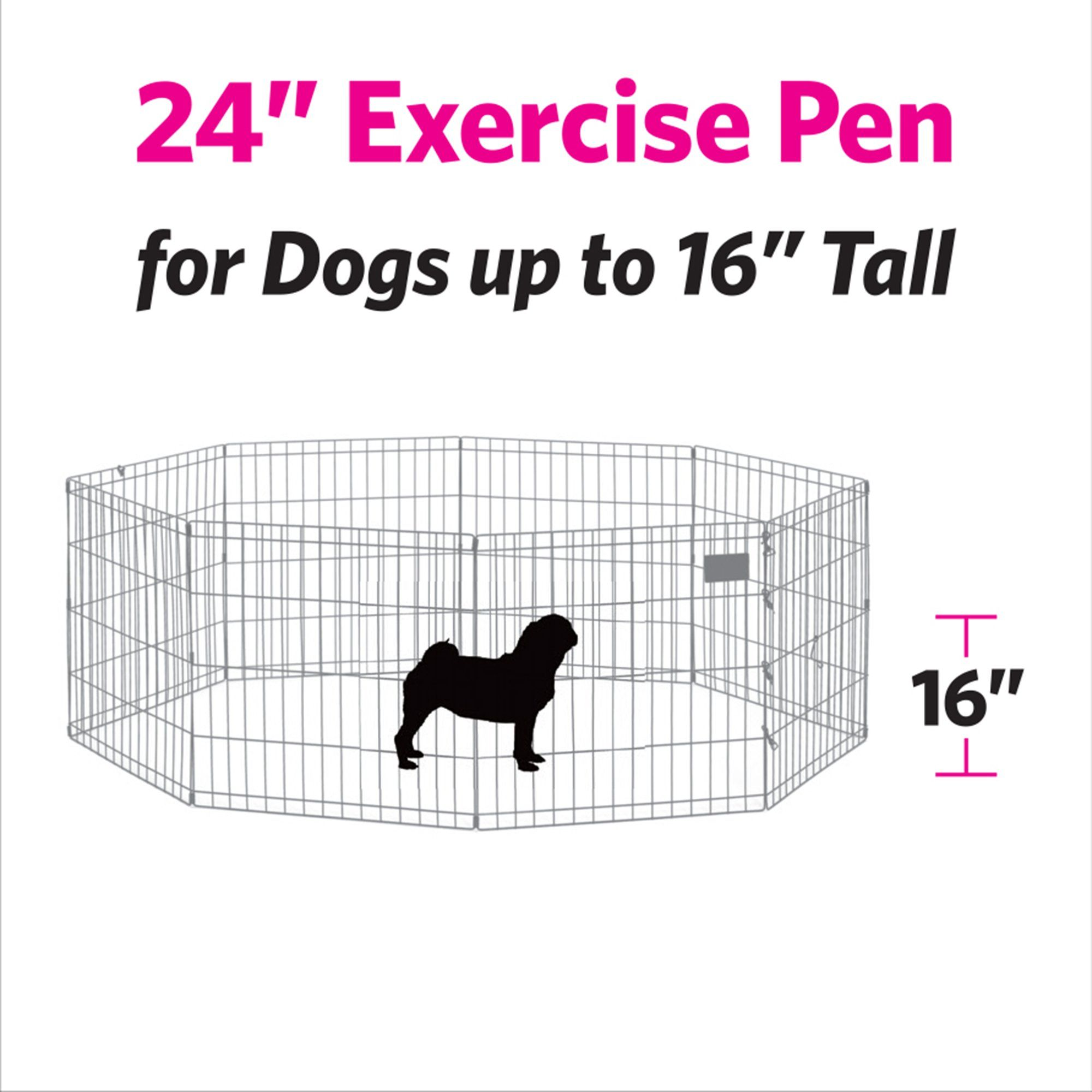 Midwest Black E Coat Exercise Pen W Door For Dogs 24 H