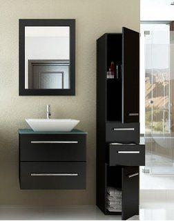 24 Inch Carina Single Vessel Sink Wall Mounted Modern Bathroom Vanity Cabinet With Gl Top Model