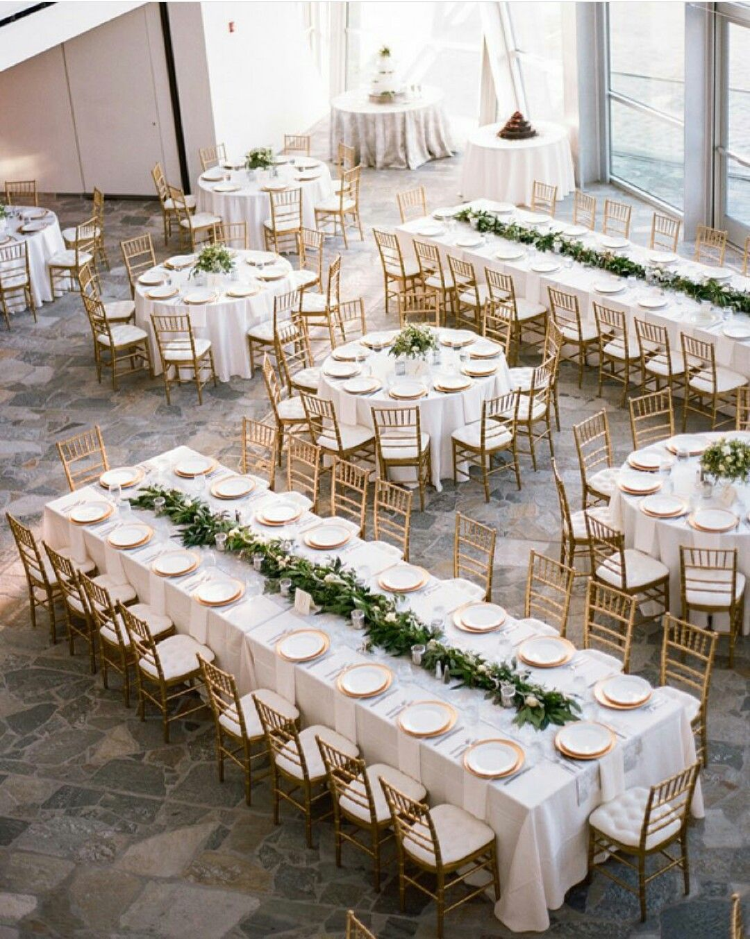Long Tables Only Love The Greenery Down The Center Of The Table Wedding Table Layouts Wedding Table Wedding Classic