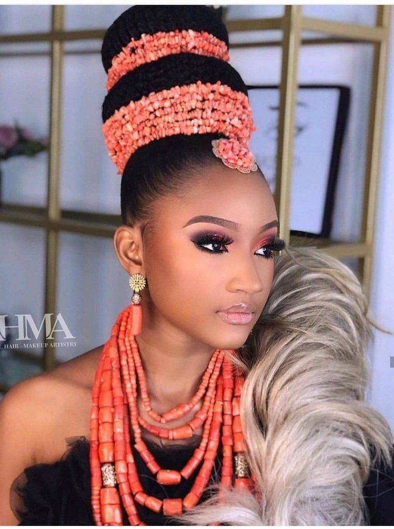 African Bridal Coral Set Coral Beads Wedding Set African Head And Neck Bead Pieces Nigerian Igbo Wedding Custome African Traditional Wedding Dress Igbo Wedding Afro Wedding Hairstyles