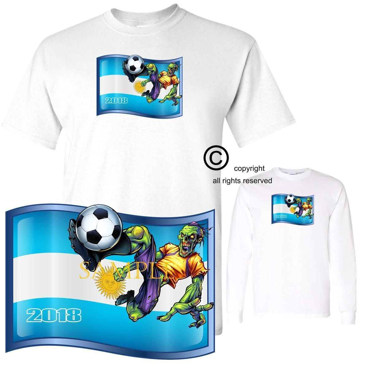 Soccer 2018 World Cup Zombie Player Team Argentina Short Long Fashion Big Size T Shirt 2xl Sleeve Discount Price