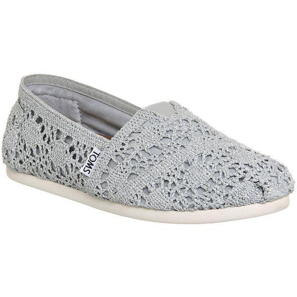 Toms Seasonal Classic Slip On Womens Flats Silver Crochet Metallic