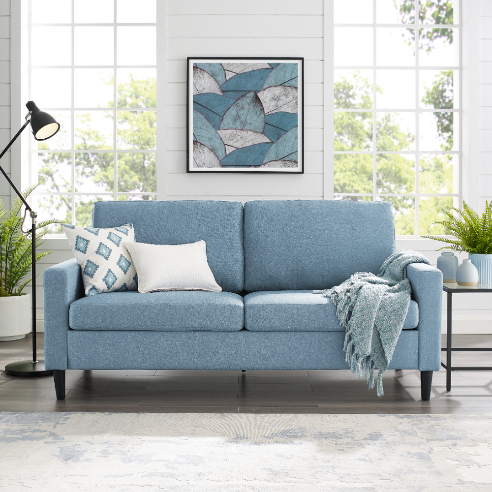 Mainstays 72 5 Apartment Sofa Woven Fabric Multiple Colors Walmart Com In 2020 Sofas For Small Spaces Apartment Sofa Couches For Small Spaces