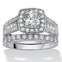 2 Piece 2.82 Round Cubic Zirconia Halo Bridal Ring Set in Platinum over Sterling Silver