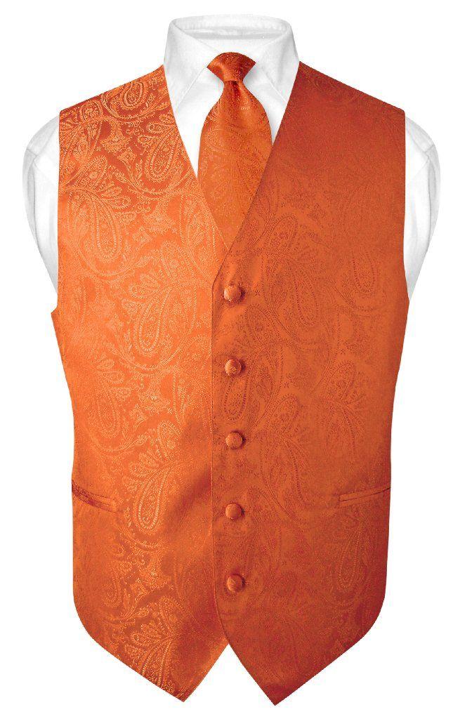 bd10279c8d Men's Paisley Design Dress Vest & NeckTie BURNT ORANGE Color Neck Tie Set