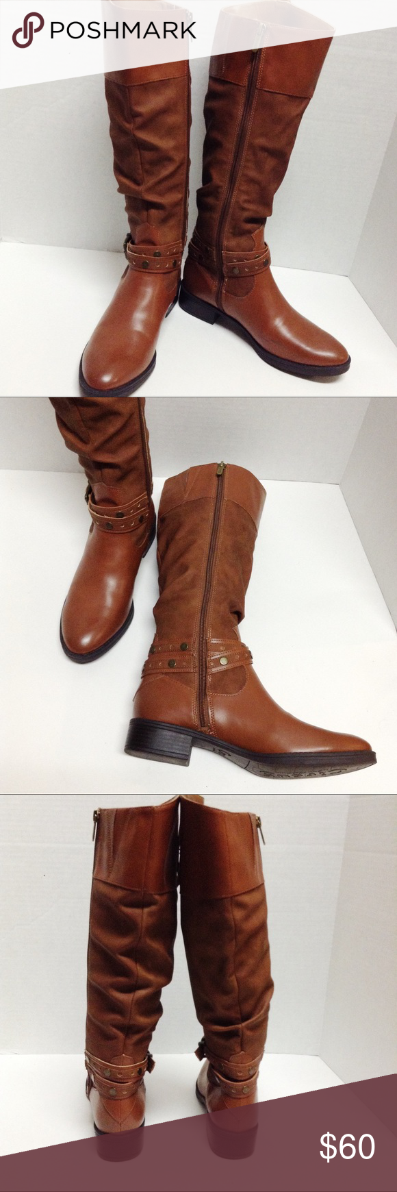 3f123833361bd Circus by Sam Edelman Paxton knee high riding boot Circus by Sam Edelman  Paxton whiskey brown knee high riding boots faux leather glossy finish on  the tops ...
