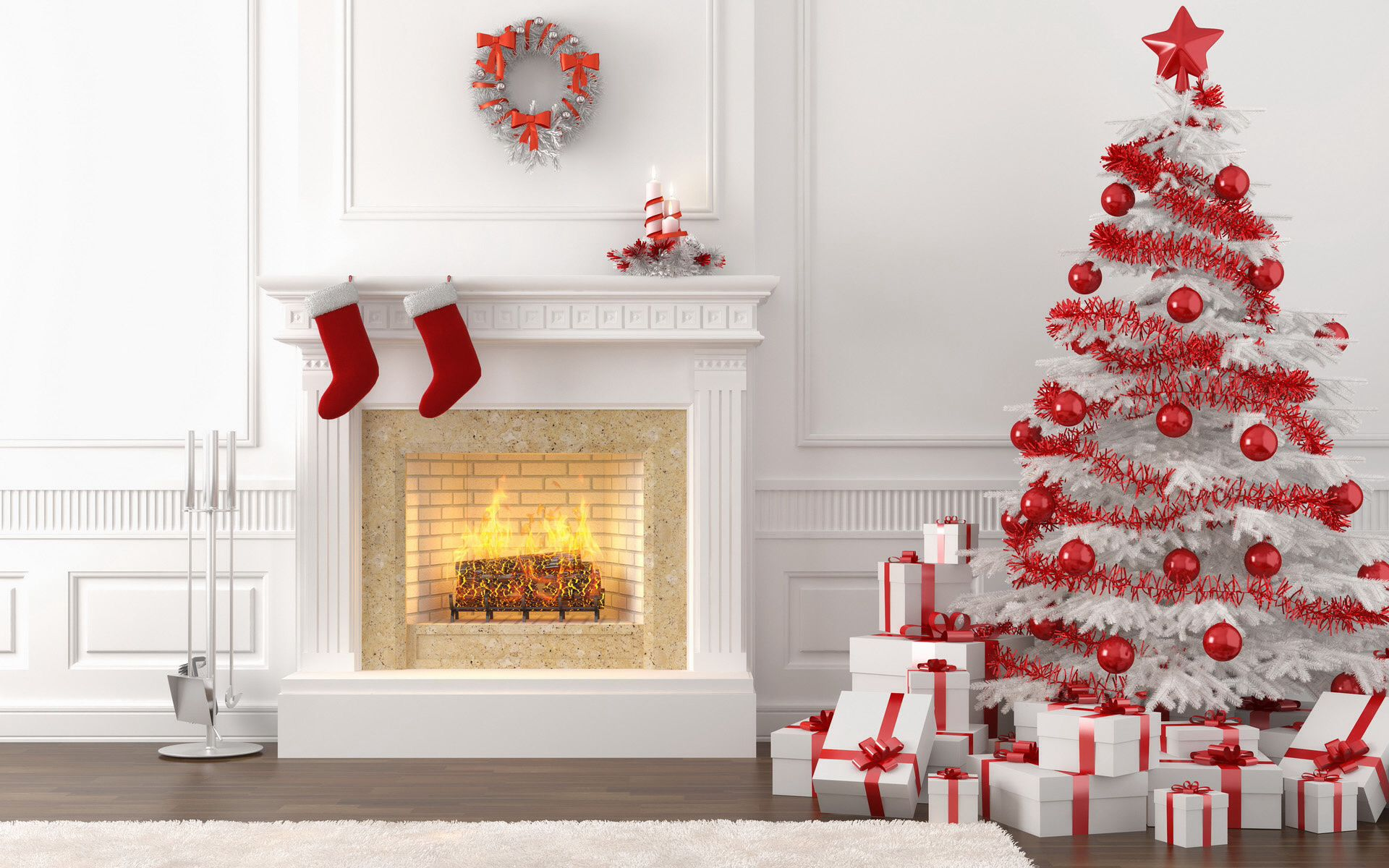 White and red christmas decor
