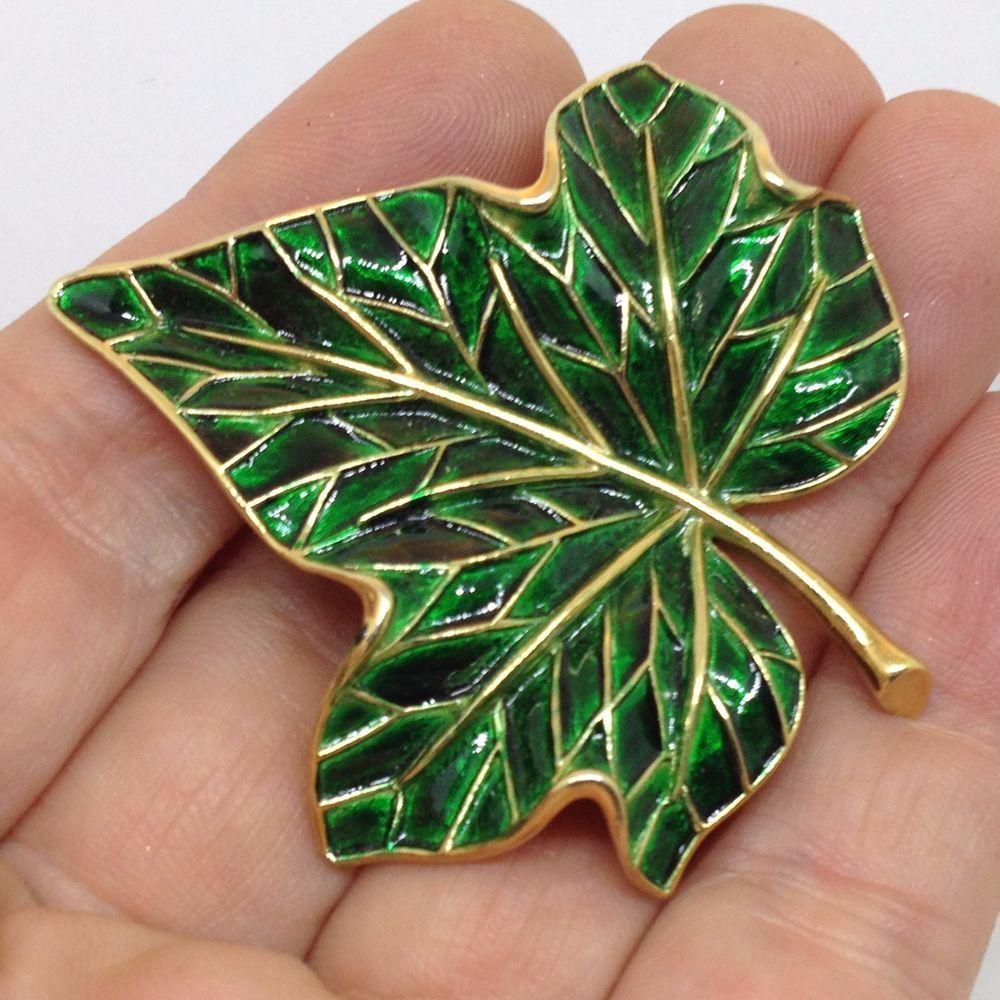 Vintage Green Leaf Brooch
