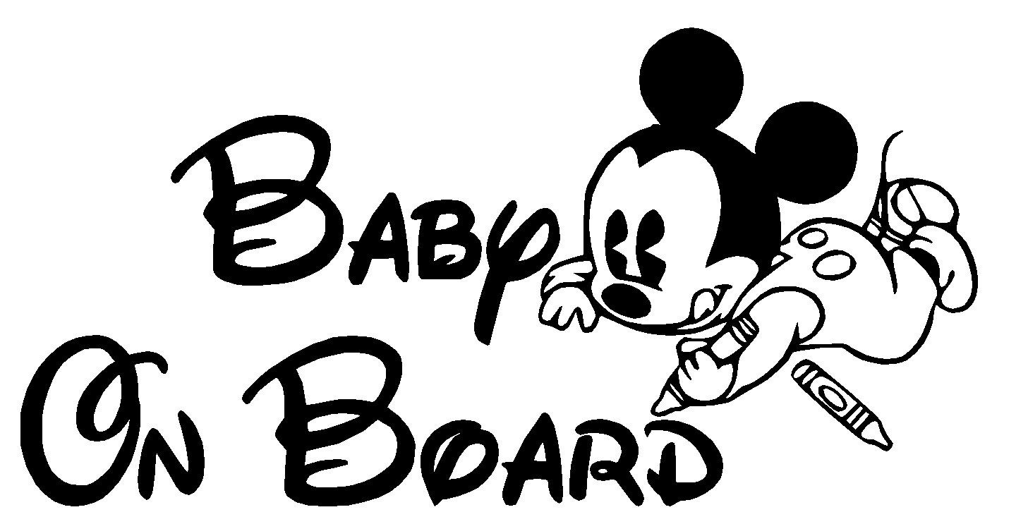 Mickey Mouse Coloring Baby On Board Vinyl Decal Multiple Colors Free Shipping Great For Car Truck Window Rear Panel Custom Mickey Mouse Mickey Vinyl Decals [ 743 x 1457 Pixel ]