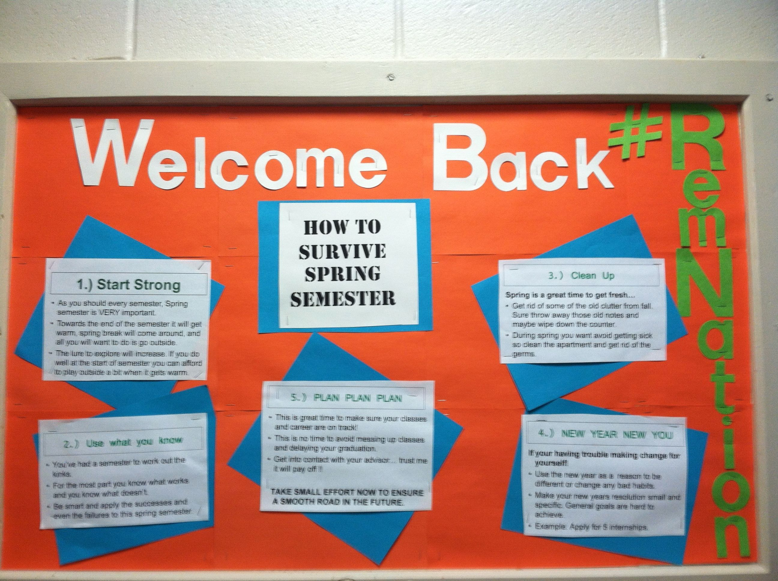 """Remelodeon"" Second semester survival welcome back board by Josh DeLoach, Spring 2013"