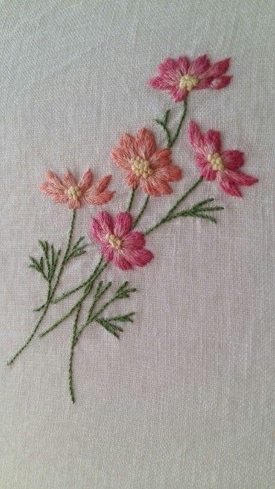 프랑스자수,서양자수, 코스모스자수 코스모스자수 수수님 자수책 꽃자수 수업 에 실린 자수... #floralembroidery