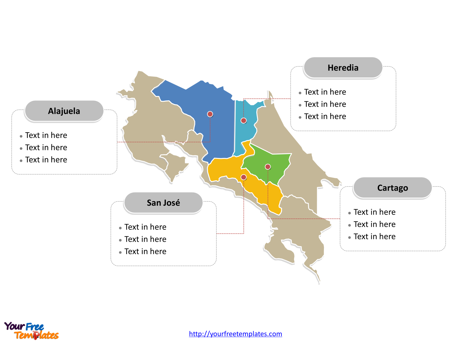 Free Costa Rica Powerpoint Map Map Powerpoint Political Map