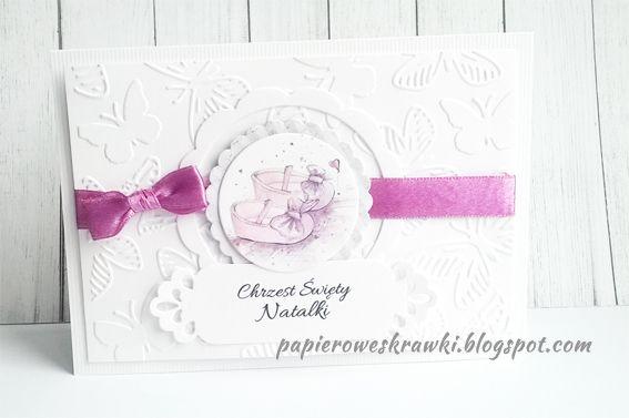 Papierowe Skrawki Zaproszenia Na Chrzestroczek Wzór Emma