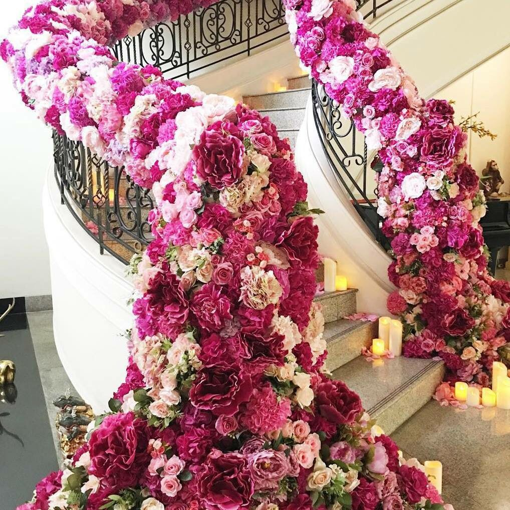 Drop dead amazing floral covered staircase - wedding decor | Wedding ...