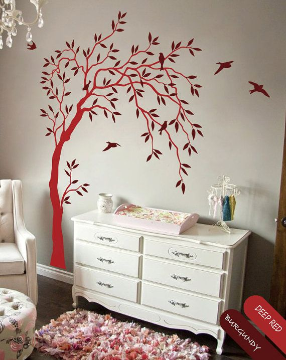 Creative Nursery Wall Tree Decal Summer Trees Baby Room With Birds And