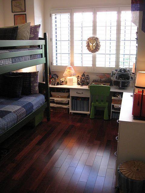kid room bunk bed hardwood floors wood floors