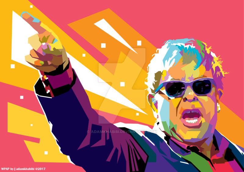 Elton John In Wedha S Pop Art Portrait Wpap By Adamkhabibi Pop Art Portraits Pop Art Celebrity Art Portraits