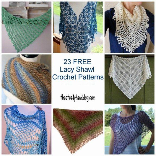 23 Lacy Shawl Crochet Patterns Collage Thesteadyhandblog Crochet